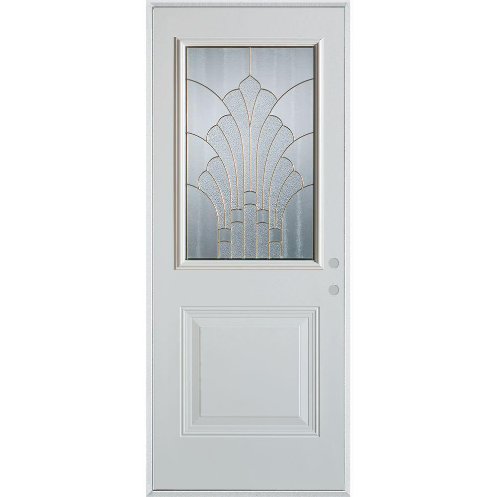 33.375 in. x 82.375 in. Art Deco 1/2 Lite 1-Panel Painted