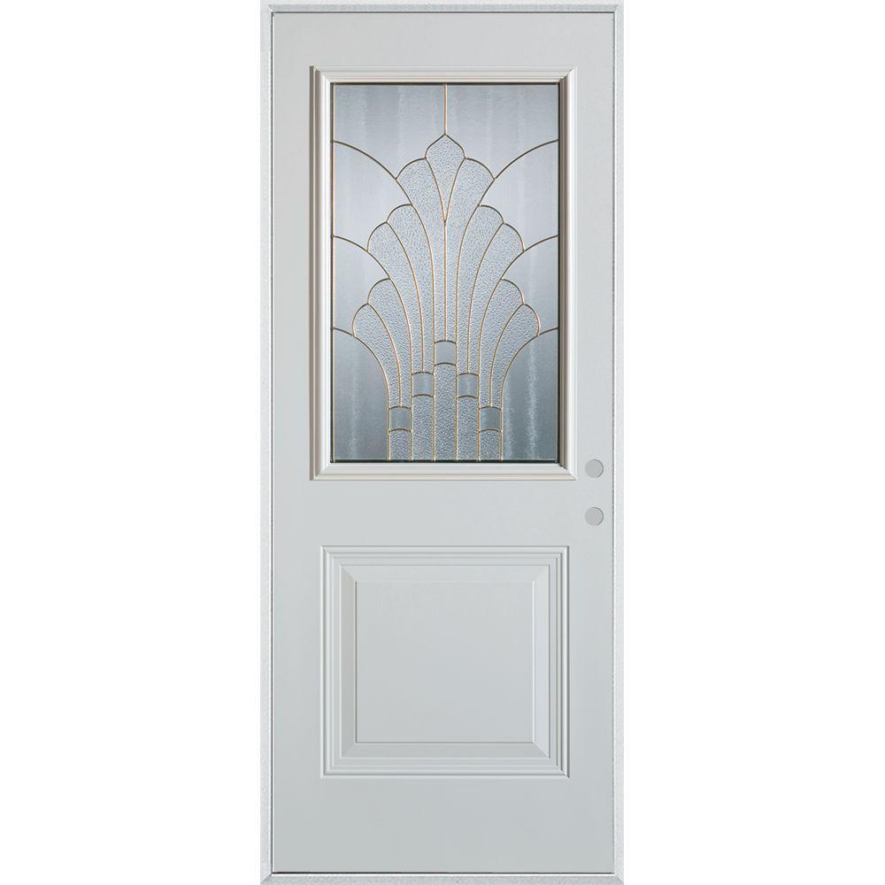 33.375 in. x 82.375 in. Art Deco 1/2 Lite 1-Panel Painted White Steel Prehung Front Door