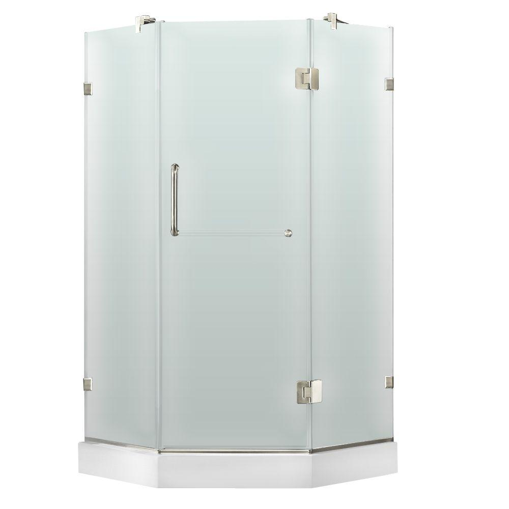 Vigo 36-1/8 in. x 76-3/4 in. Frameless Neo-Angle Shower Door with Low-Profile Base in Frosted/Chrome