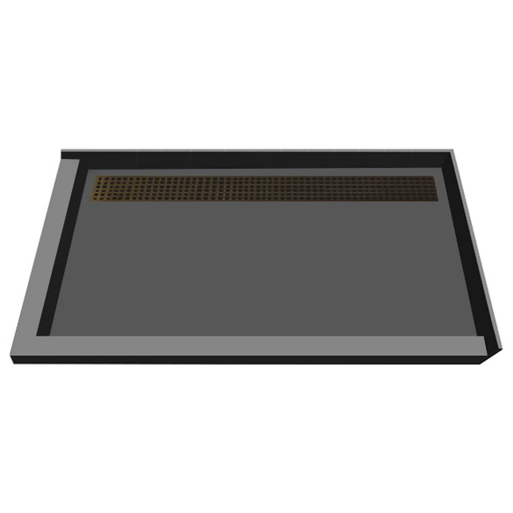 34 in. x 48 in. Double Threshold Shower Base in Gray