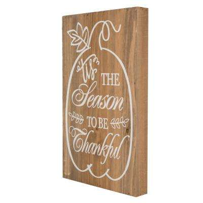 16 in. H Solid Wood Harvest Word Sign