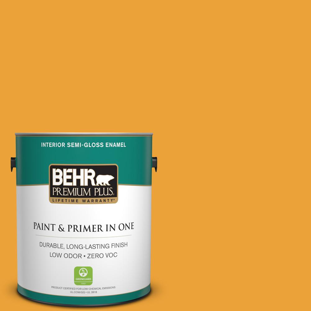 1-gal. #HDC-FL14-5 Gilded Leaves Zero VOC Semi-Gloss Enamel Interior Paint