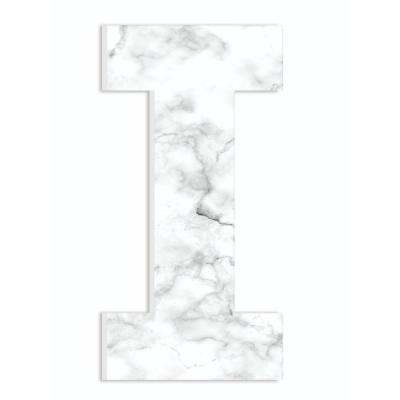 """12 in. x 18 in. """"Modern White and Grey Marble Patterned Initial I"""" by Artist Daphne Polselli Wood Wall Art"""