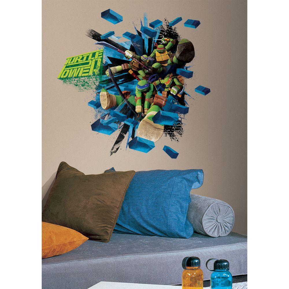 null 2.5 in. x 27 in. Teenage Mutant Ninja Turtles Brick Poster Peel and Stick Giant Wall Decal