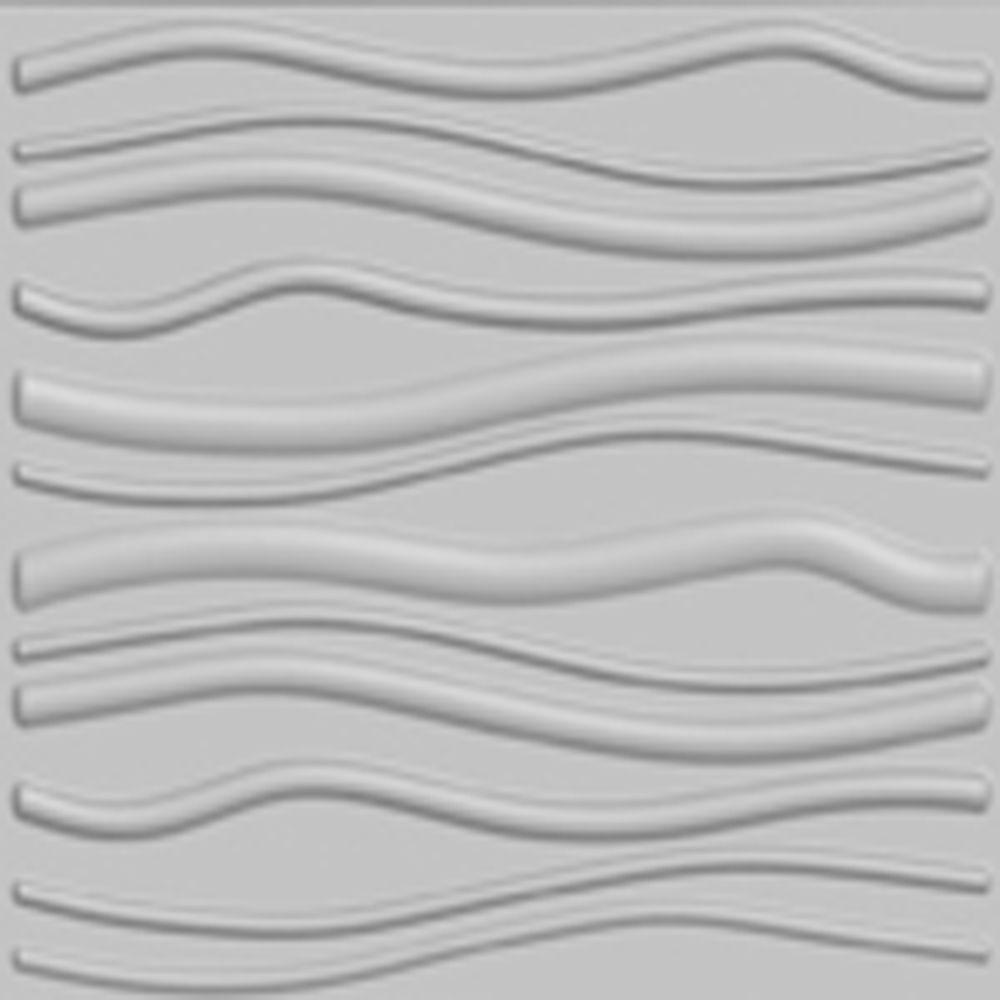 threeDwall 32.4 in. x 21.6 in. x 1 in. Off-White Plant Fiber Glue-On Wainscot Wall Panel (6-Pack)