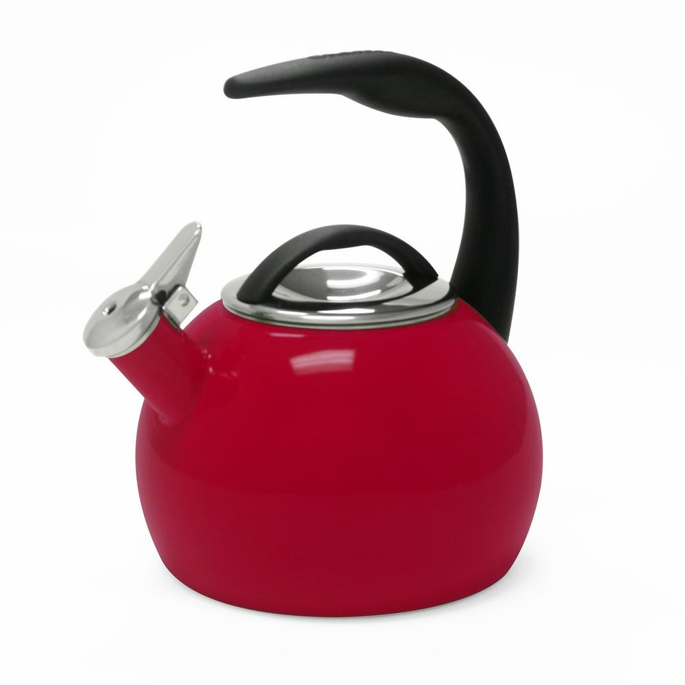 Anniversary 8-cups Enamel-On-Steel Chili Red Tea Kettle
