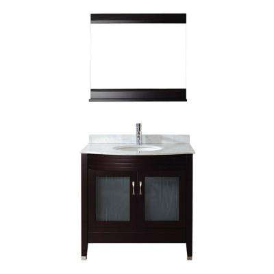 Alba 36 in. Vanity in Chai with Marble Vanity Top in Chai and Mirror