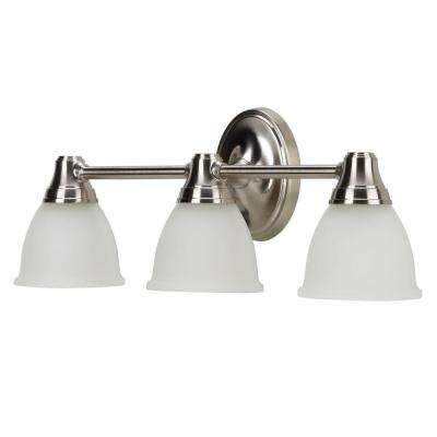 Forte Transitional 3-Light Vibrant Brushed Nickel Wall Sconce