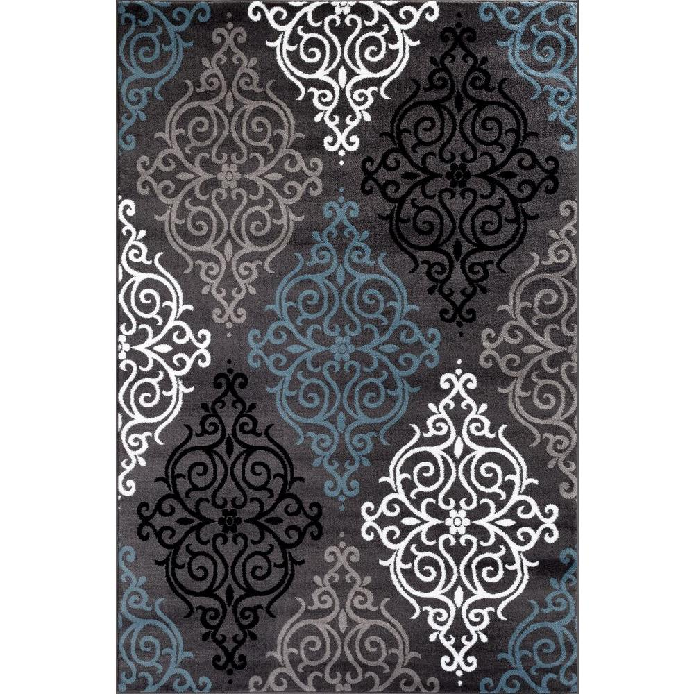 World Rug Gallery Modern Transitional Soft Damask Gray 7