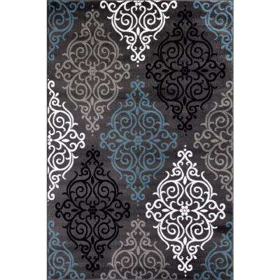 Modern Transitional Soft Damask Gray 7 ft. 10 in. x 10 ft. 2 in. Indoor Area Rug