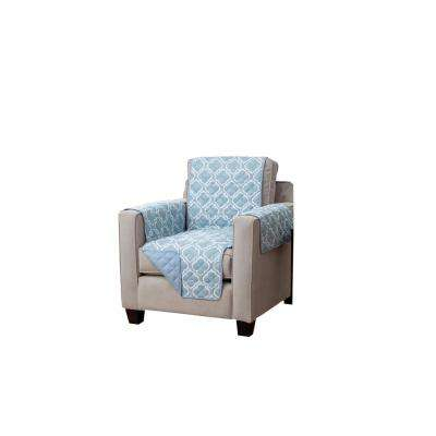 Adalyn Collection Marine Blue Printed Reversible Chair Furniture Protector