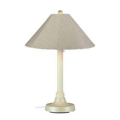 San Juan 34 in. Outdoor White Table Lamp with Antique Beige Linen Shade