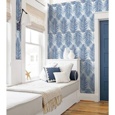 Coastal Blue Paradise Palm Peel and Stick Wallpaper 30.75 sq. ft.