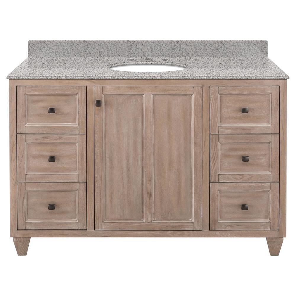 Home Decorators Collection Banks 49 in. W x 22 in. D Bath Vanity in Antique Ash with Granite Vanity Top in Napoli with White Sink