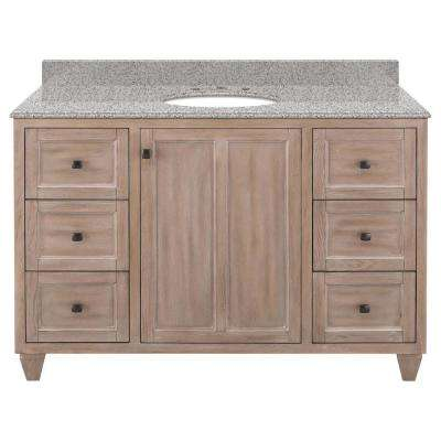 Banks 49 in. W x 22 in. D Bath Vanity in Antique Ash with Granite Vanity Top in Napoli with White Sink