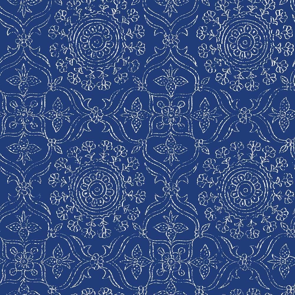 Blue Byzantine Peel and Stick Wallpaper Sample