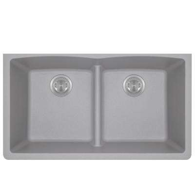 Undermount Kitchen Sink Composite Granite 33 in. Low-Divide Equal Double Basin in. Silver