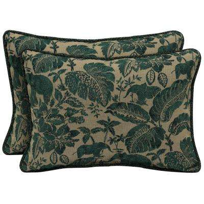 Casablanca Elephant Oversize Lumbar Outdoor Throw Pillow with Welt (2-Pack)