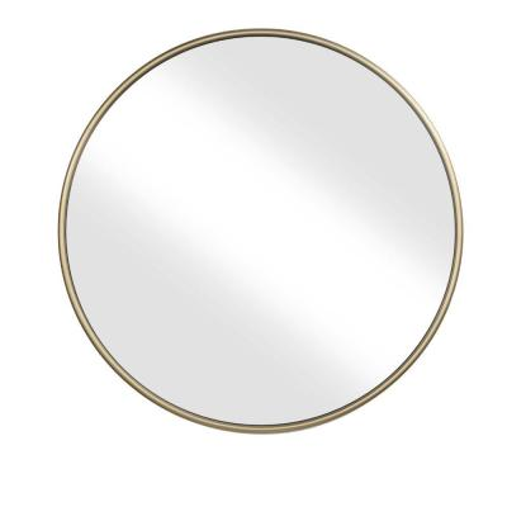1 in. H x 36 in. W Small Round Gold Modern Mirror