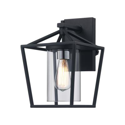 Monteaux 1-Light Black Outdoor Wall Lantern with Clear Glass