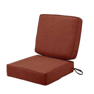 Montlake FadeSafe 25 in. W x 22 in. H Heather Henna Red Outdoor Lounge Chair Seat Cushion with Back Cushion