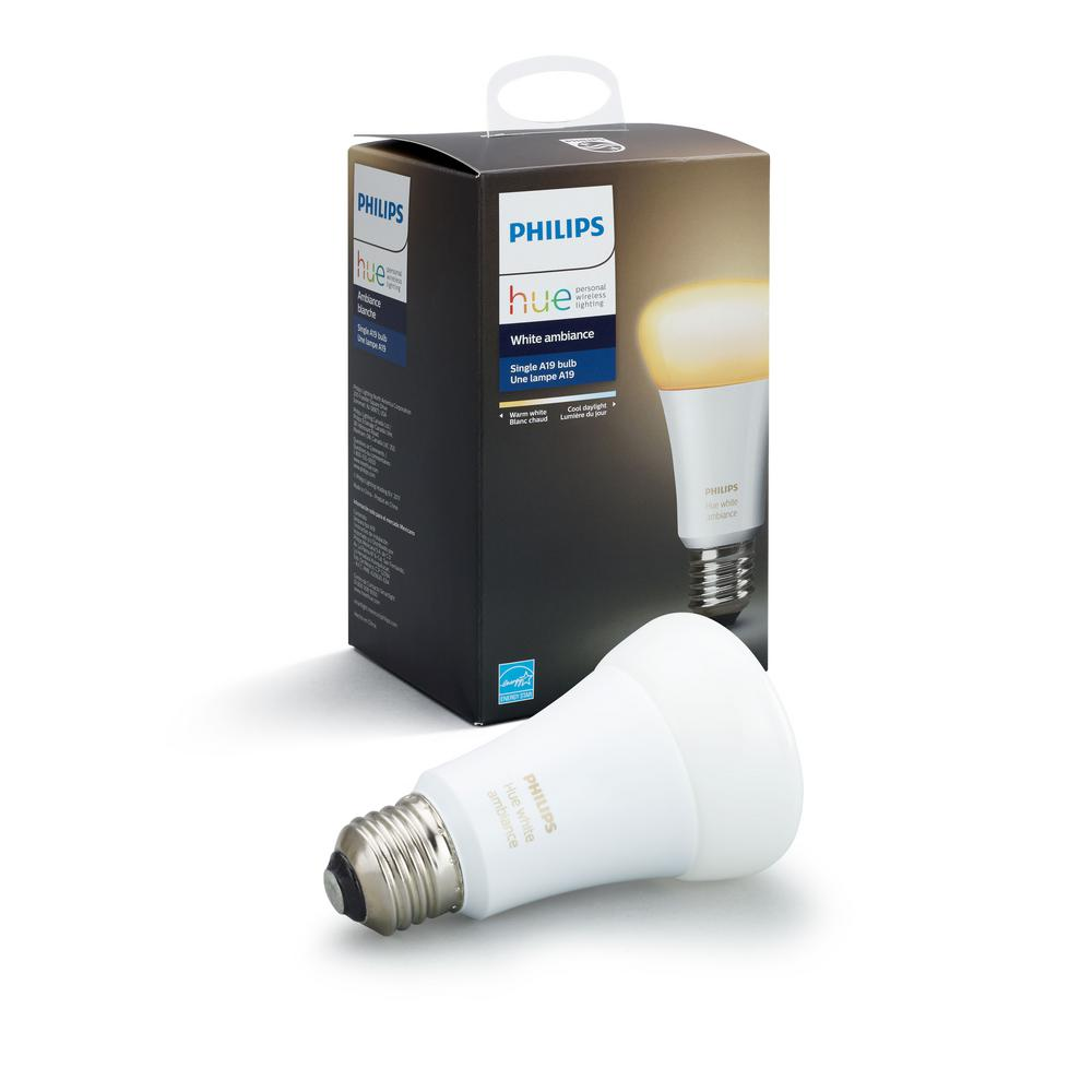 philips hue white ambiance a19 60w equivalent dimmable led smart bulb 461004 the home depot. Black Bedroom Furniture Sets. Home Design Ideas