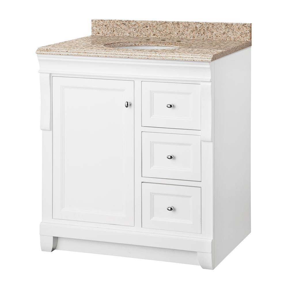 Home Decorators Collection Naples 31 in. W x 22 in. D Vanity in White with Granite Vanity Top in Beige with White Sink
