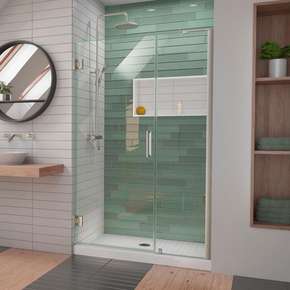 Unidoor-LS 48 in. to 49 in. W x 72 in. H Frameless Hinged Shower Door in Brushed Nickel
