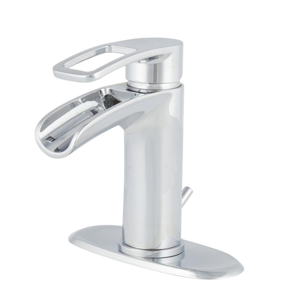 Chrome 1 Lever Single Handle Bathroom Sink Faucets
