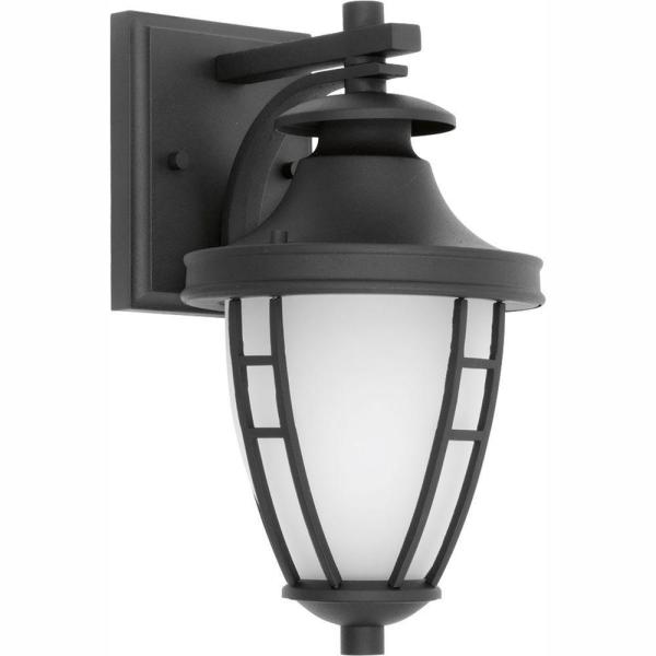 Fairview Collection 1-Light 11.75 in. Outdoor Textured Black LED Wall Lantern Sconce