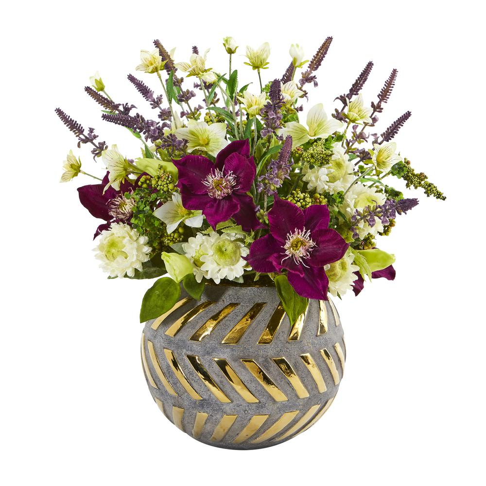 Nearly Natural 14 in. Mixed Artificial Flower Arrangement in Stoneware Vase with Gold Trimming