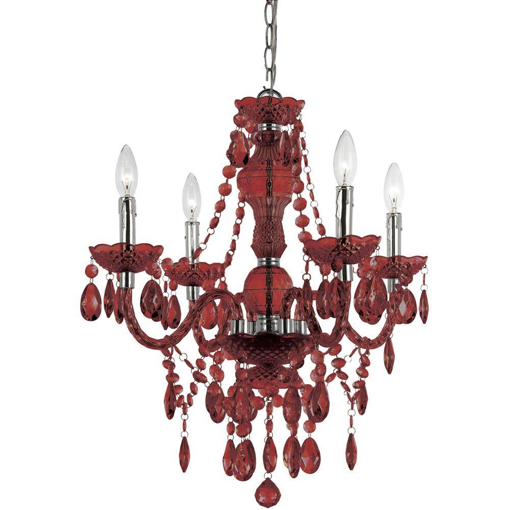 Af lighting naples 4 light red mini chandelier 8354 4h the home depot af lighting naples 4 light red mini chandelier mozeypictures Image collections