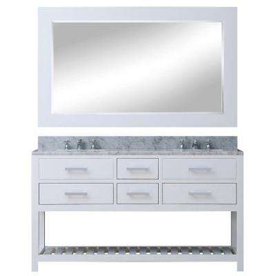 60 in. W x 21.5 in. D Vanity in White with Marble Vanity Top in Carrara White, Mirror and Chrome Faucets