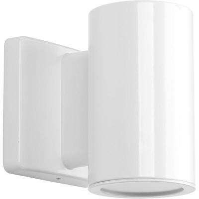 Cylinders Collection 1-Light White Integrated LED Outdoor Wall Mount Cylinder Light