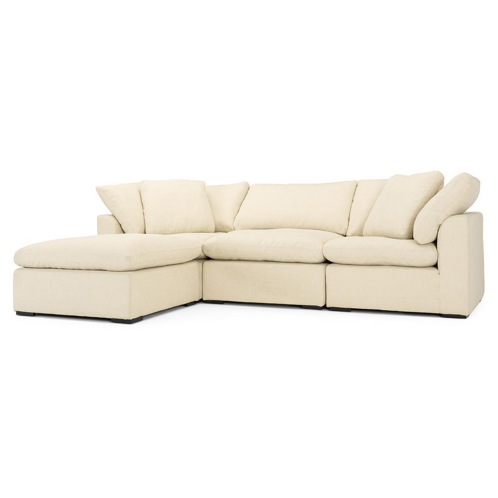 Aria 4-Piece Beige Sofa and Ottoman Set