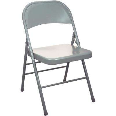 Gray Metal Folding Chair (4-Pack)