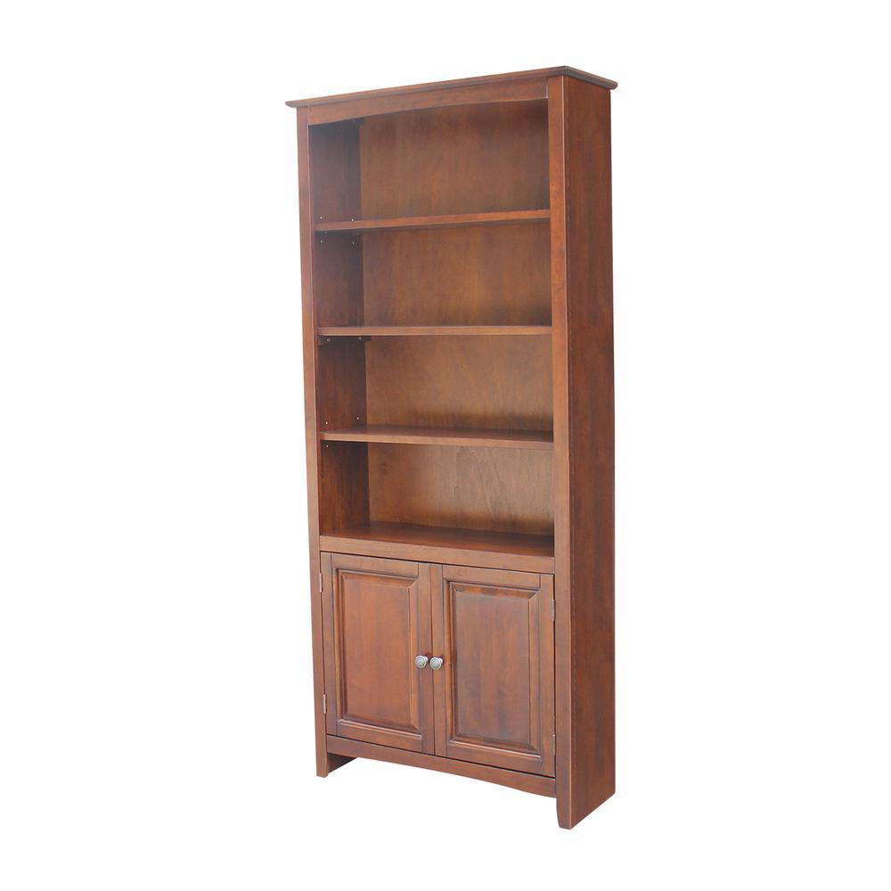 72 in. Espresso Wood 6-shelf Standard Bookcase with Adjustable Shelves
