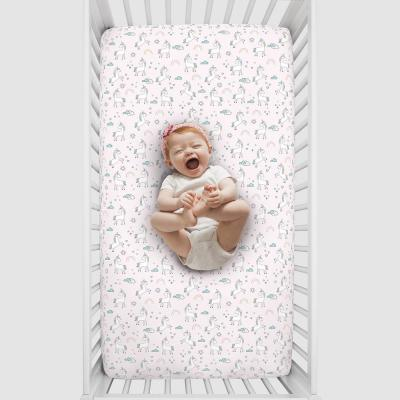 Super Soft Pink Unicorn Polyester Nursery Crib Fitted Sheet