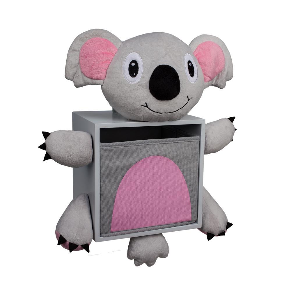 Kiddie 17 in. W x 18 in. H Gray Plush and MDF Koala Bear Kids Wall Storage Bin with Removable Bin