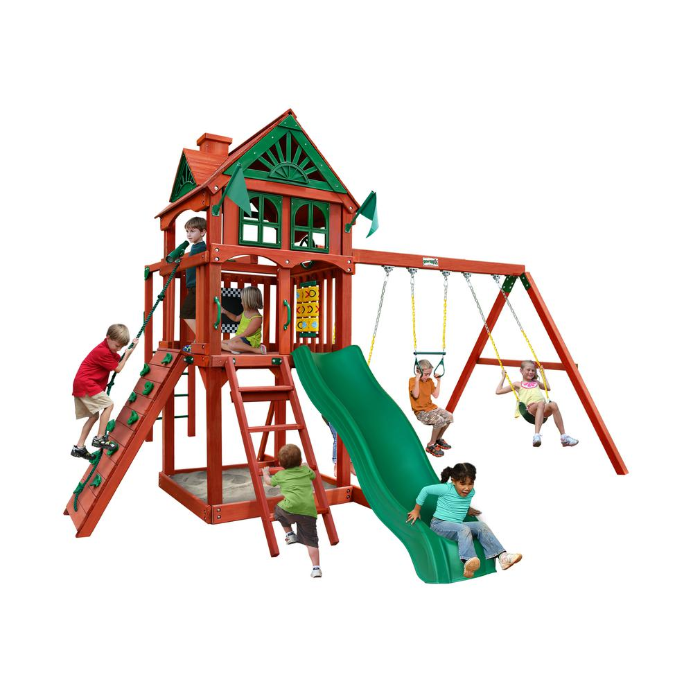 Gorilla Playsets Five Star II Wooden Swing Set with Monkey Bars and Rock Wall