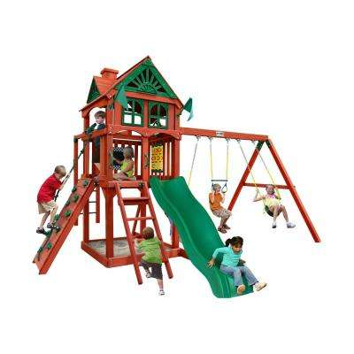 Five Star II Wooden Swing Set with Monkey Bars and Rock Wall
