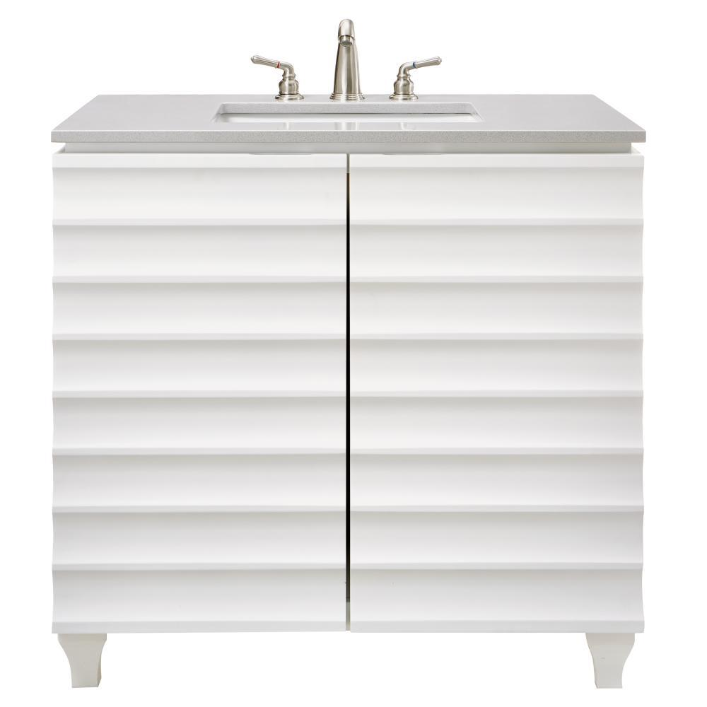 Darby 36 in. W Single Vanity in White with Engineered Stone