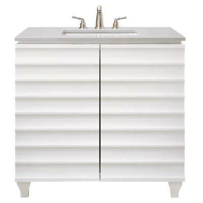 Darby 36 in. W Single Vanity in White with Engineered Stone Vanity Top in Grey with White Basin