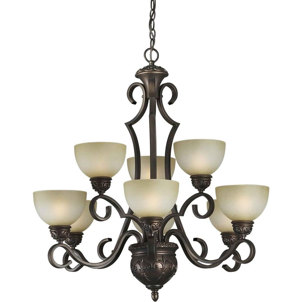 Illumine 9-Light Chandelier Antique Bronze Finish Umber Mist Glass-DISCONTINUED