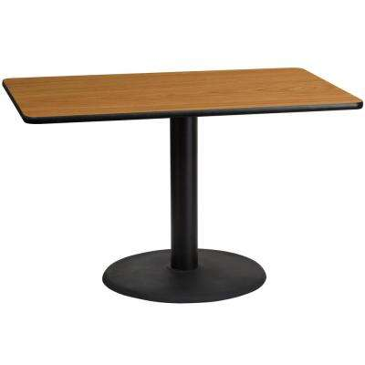 30 in. x 48 in. Rectangular Natural Laminate Table Top with 24 in. Round Table Height Base