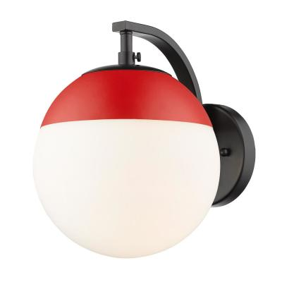 Black Dixon Sconce with Opal Glass and Red Cap