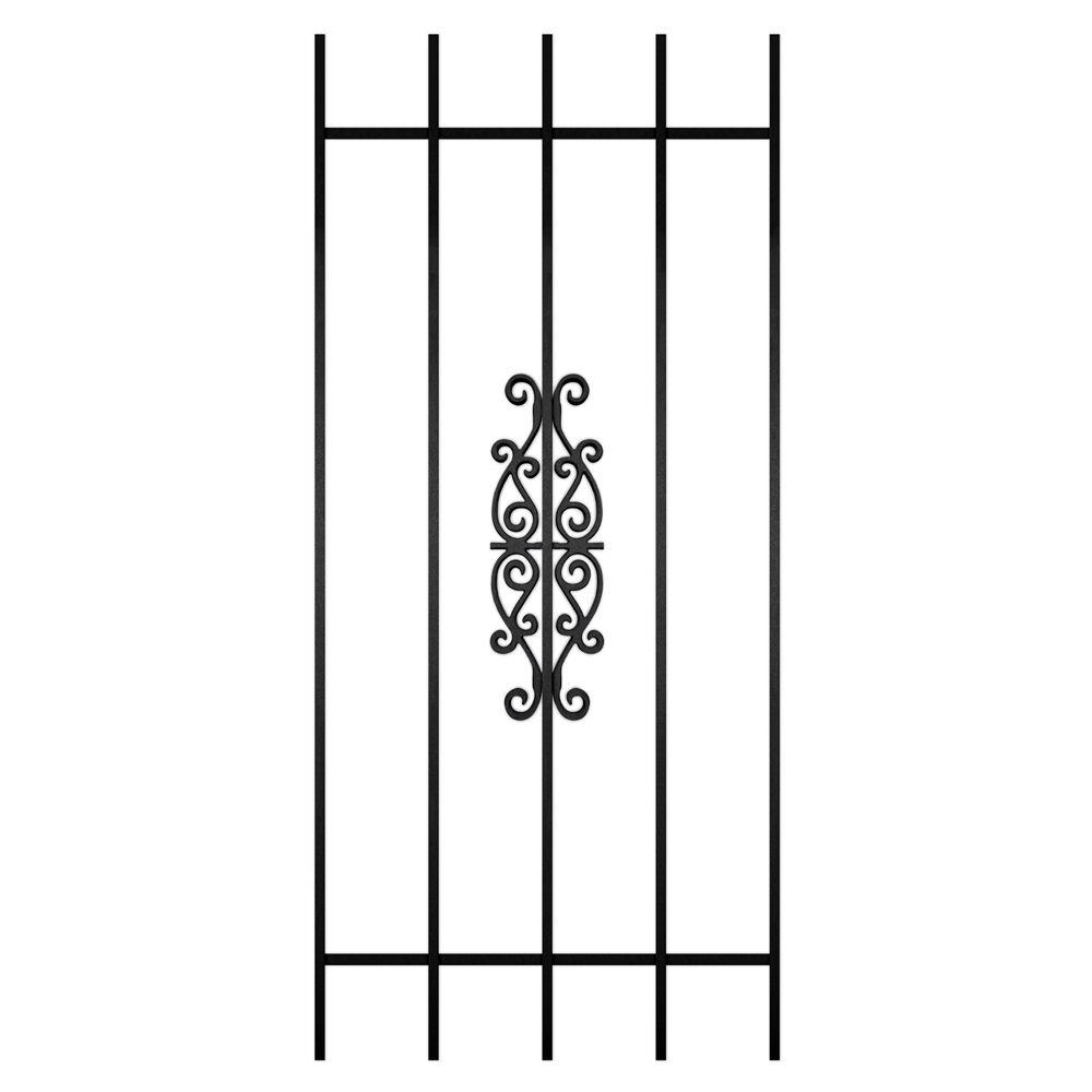 Unique Home Designs Victorian Scrolls 24 in. x 54 in. Black 5-Bar Window Guard-DISCONTINUED