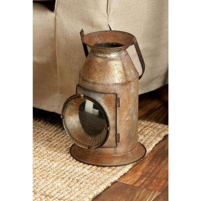 19 in. Rustic Brown and Tan Metal and Glass Canister Candle Lantern