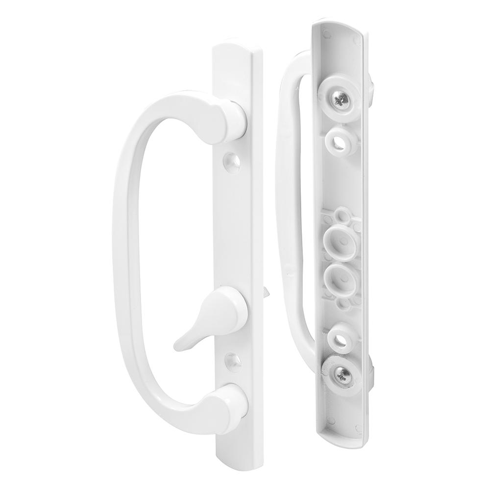 Prime-Line Diecast, White, Patio Door Handle, Offset Thumb turn