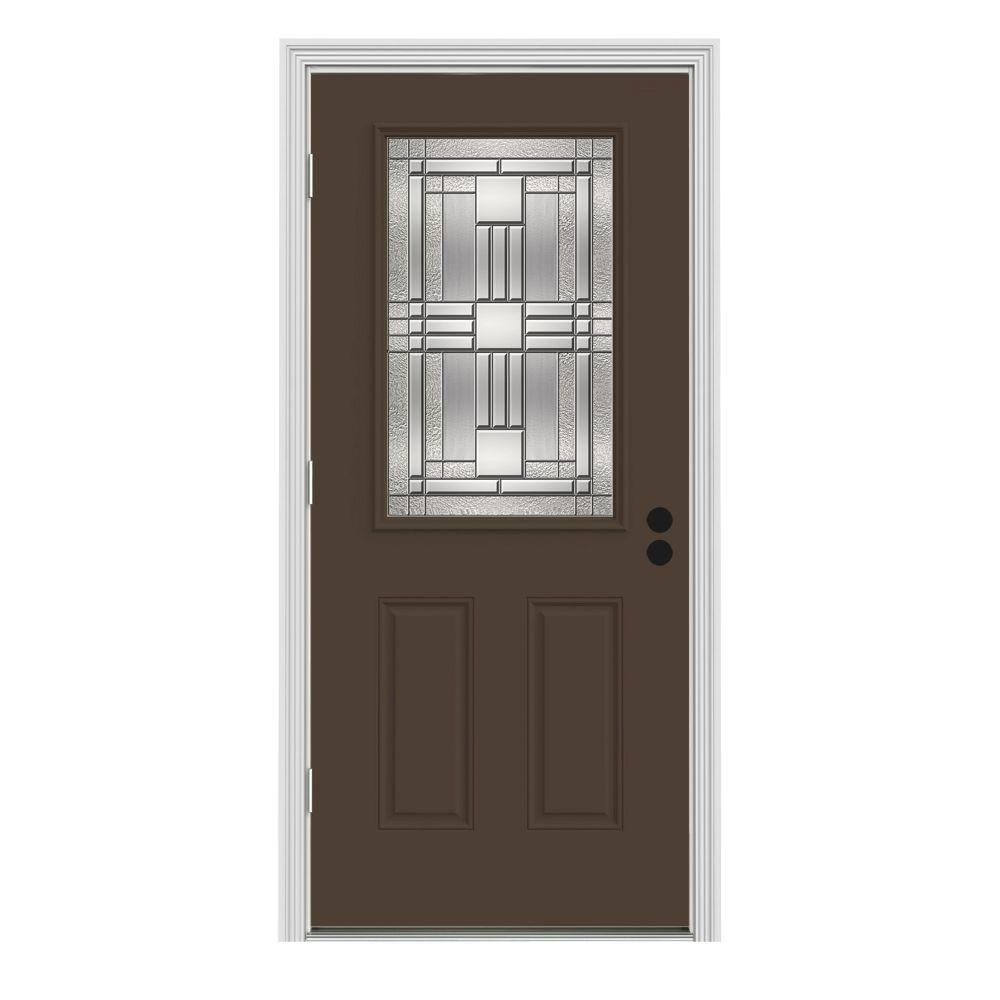 32 in. x 80 in. 1/2 Lite Cordova Dark Chocolate Painted